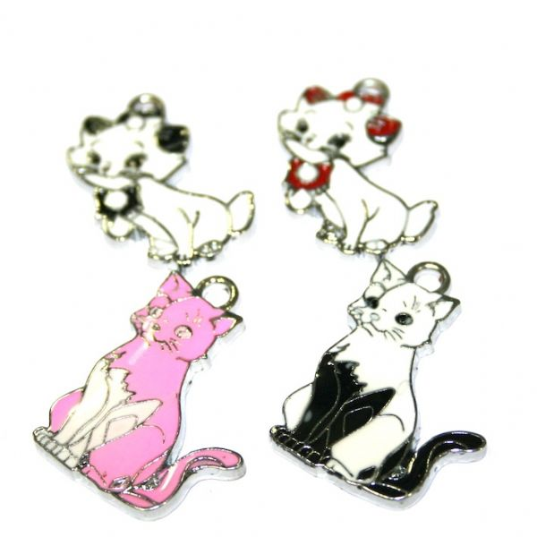 Cat enamel charms